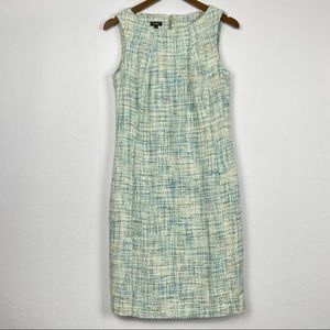 Talbots Light Blue Tweed Sleeveless Sheath Dress